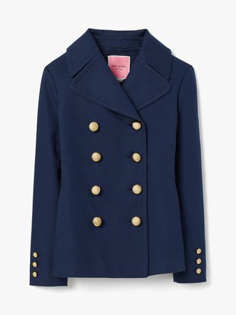 cotton classic double-breasted peacoat | Kate Spade New York
