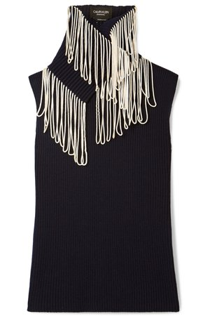 CALVIN KLEIN 205W39NYC | Convertible fringed ribbed-knit turtleneck sweater | NET-A-PORTER.COM