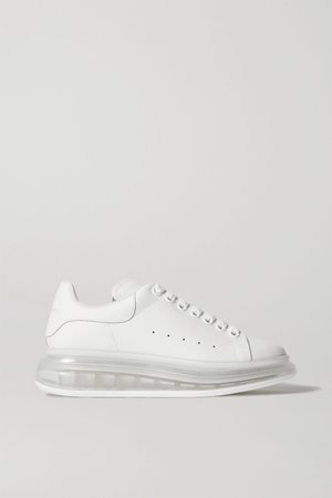 White Leather exaggerated-sole sneakers | Alexander McQueen | NET-A-PORTER