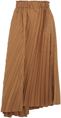 Asymmetric Pleated Sateen Midi Skirt