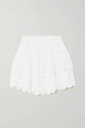 Emilia Crochet-trimmed Tiered Embroidered Cotton-voile Mini Skirt - White