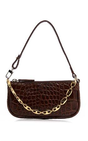 Mini Rachel Croc-Effect Leather Shoulder Bag by by FAR   Moda Operandi