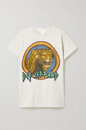 Def Leppard Distressed Printed Cotton-jersey T-shirt - White