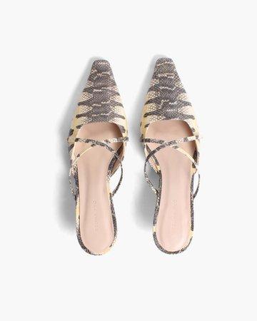 Phoebe Mules Leather Print Chury Snake – REJINA PYO
