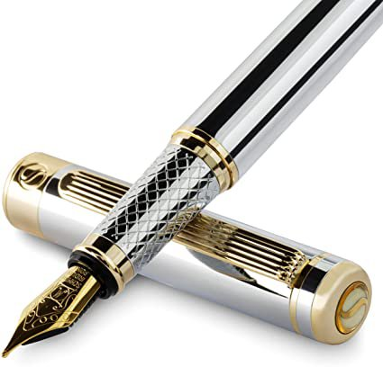 Amazon.com : Silver Chrome Fountain Pen Scriveiner - Stunning Luxury Pen with 24K Gold Finish, Schmidt 18K Gilded Nib (Medium), Best Pen Gift Set for Men & Women, Professional, Executive Office, Nice Pens : Office Products