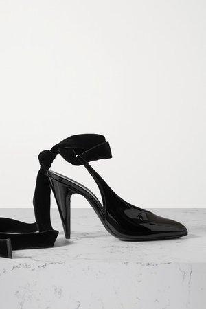 Velvet-trimmed Patent-leather Slingback Pumps - Black