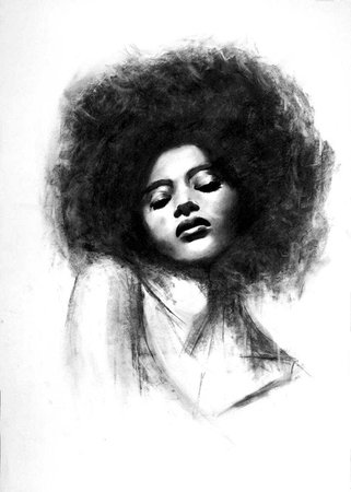 Saatchi Art: Afro girl drawing