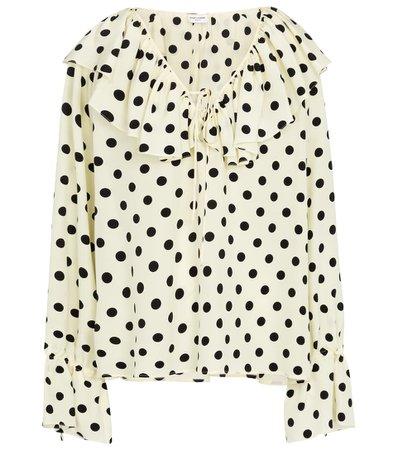 Saint Laurent - Polka-dot silk crêpe de chine blouse   Mytheresa