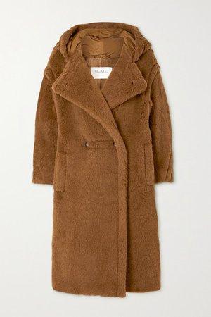 Teddy Bear Icon Hooded Alpaca And Wool-blend Coat - Brown