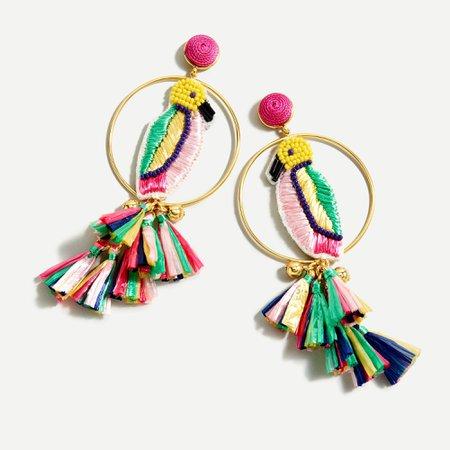 J.Crew: Tropical Bird Statement Earrings For Women