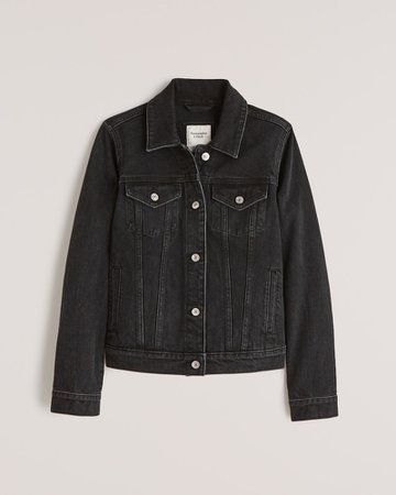 Black Women's Denim Jacket | Women's New Arrivals | Abercrombie.com