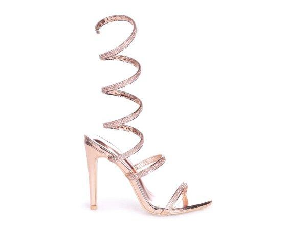 Linzi rose gold diamanté wrap heel
