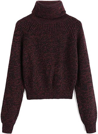 Milumia Women Turtleneck Long Sleeves Fall Winter Sweaters Crop Tops Basic Jumpers Brown Medium at Amazon Women's Clothing store