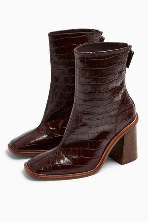 HERTFORD Burgundy Crocodile Boots Brown   Topshop