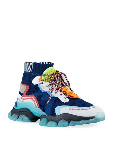 Moncler Men's Leave No Trace High-Top Sock Sneakers | Neiman Marcus