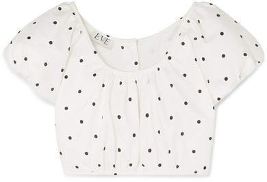 Georgette Cropped Polka-dot Cotton-blend Twill Top - White