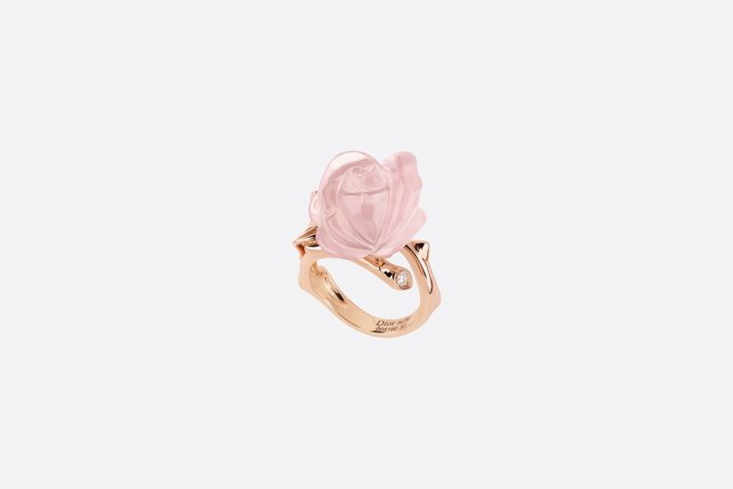 Small Rose Dior Pré Catelan Ring Rose Gold, Diamond and Pink Quartz - products | DIOR