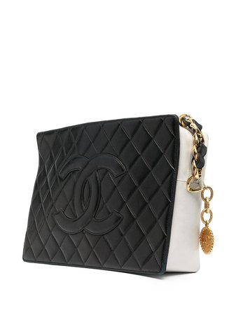 Chanel Pre-Owned 1991 Logo Patch diamond-quilted Shoulder Bag - Farfetch