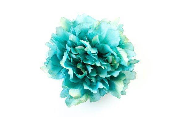 EXTRA LARGE Turquoise Aqua Blue Full Peony 7 inches   Etsy