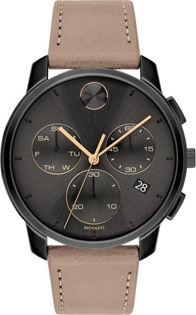 Bold Chronograph Leather Strap Watch, 42mm