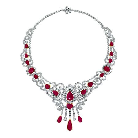 Beauvince Ruby and Diamond Pendant Choker Necklace in White Gold