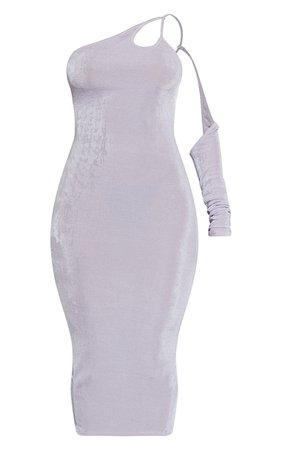 Lilac Textured Slinky Halterneck Detail One Sleeve Midaxi Dress | PrettyLittleThing USA