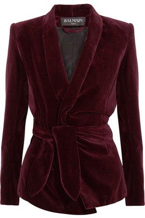 Balmain  Belted velvet blazer