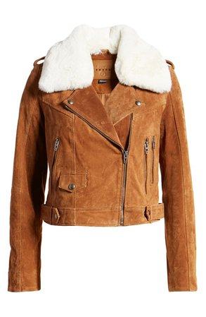 BLANKNYC Removable Faux Fur Collar Suede Moto Jacket | Nordstrom