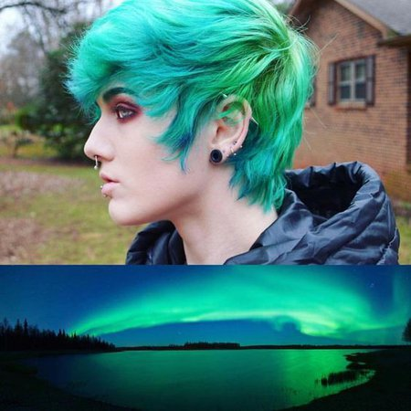Blue and green hair 1