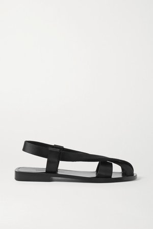 Satin Slingback Sandals - Black