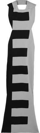 Open-back Two-tone Silk-ponte Maxi Dress
