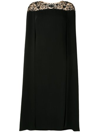 Marchesa Notte, Embroidered Cape Dress