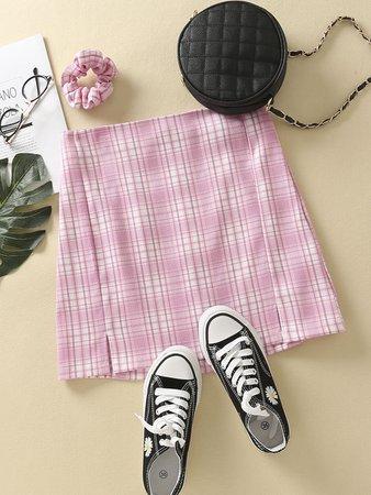 Split Side Tartan Mini Skirt | SHEIN USA