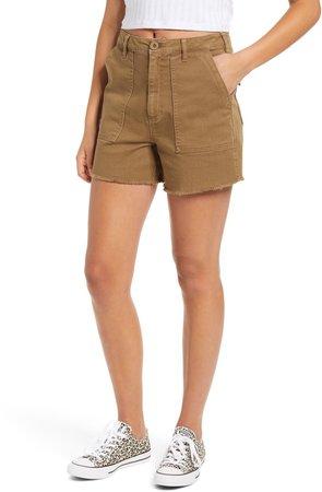 Front Pocket Twill Military Shorts