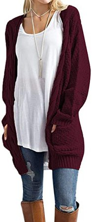 Traleubie Womens Open Front Cardigan Pockets Cable Knit Long Sleeve Sweaters Warm Tops Grey XL at Amazon Women's Clothing store