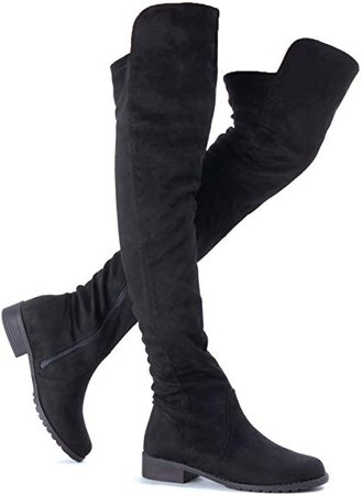 Amazon.com | Guilty Heart Womens Comfy Over The Knee Low Heel Faux Suede Boots - Above The Knee Vegan Stretchy Tied Back Boots Shoes | Over-the-Knee