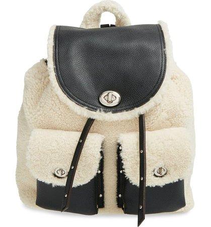 COACH 'Turnlock' Genuine Shearling Backpack | Nordstrom