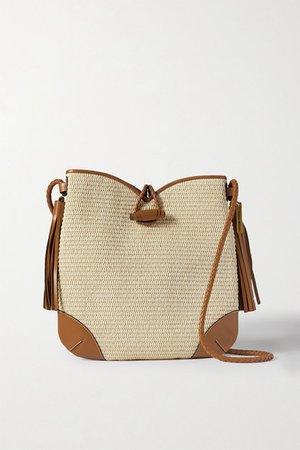 Tyag Leather-trimmed Raffia Shoulder Bag - Beige