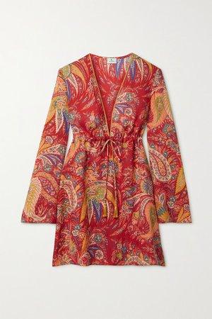Itaca Tasseled Paisley-print Ramie Mini Dress - Red