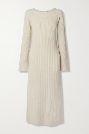Ribbed Wool And Cashmere-blend Midi Dress - Ecru