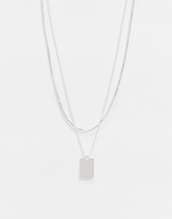 Weekday Highlight tag-pendant double chain necklace in silver   ASOS