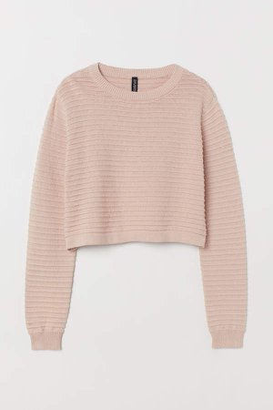 Textured-knit Sweater - Pink