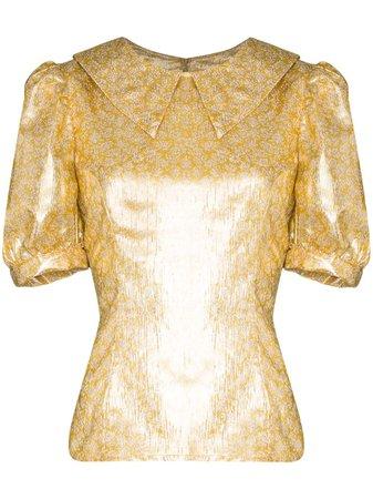Gold Shrimps Owen Metallic Lamé Blouse For Women   Farfetch.com