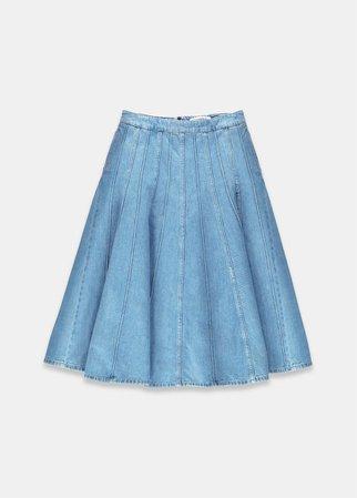 Blue panelled denim midi skirt