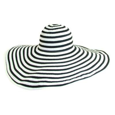 Scala Black White Extra Large Brim Sun Hat By Striped One Size, $24 | BeltOutlet.com | Lookastic.com