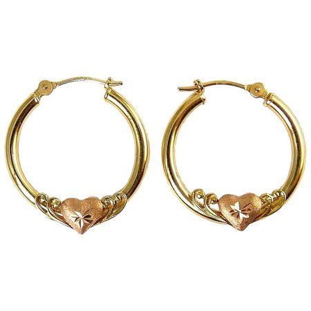10K Yellow Gold Hoop Earrings with Puffy Rose Gold Hearts, Pierced : Venus Vintage Jewelry | Ruby Lane