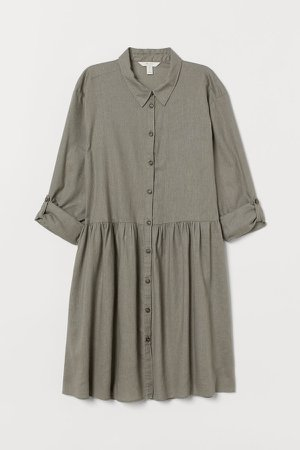 Linen-blend Shirt Dress - Green