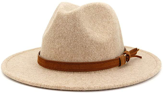 Lisianthus Womens Classic Wool Fedora with Belt Buckle Wide Brim Panama Hat (B-Beige) at Amazon Women's Clothing store