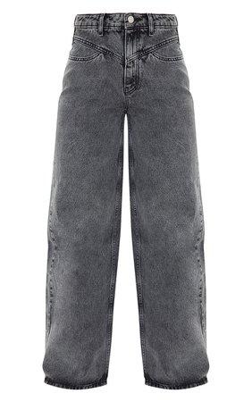 Grey Acid Seam Detail Wide Leg Jeans | Denim | PrettyLittleThing USA