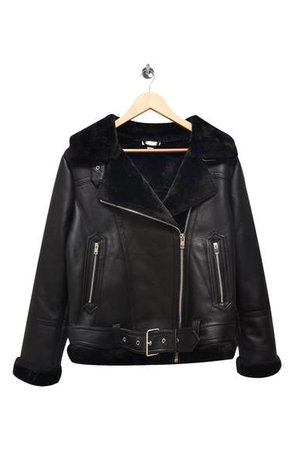 Topshop Fleece & Faux Leather Moto Jacket (Regular & Petite)   Nordstrom